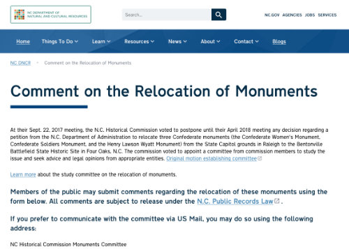 Comments on Relocation of Monument small